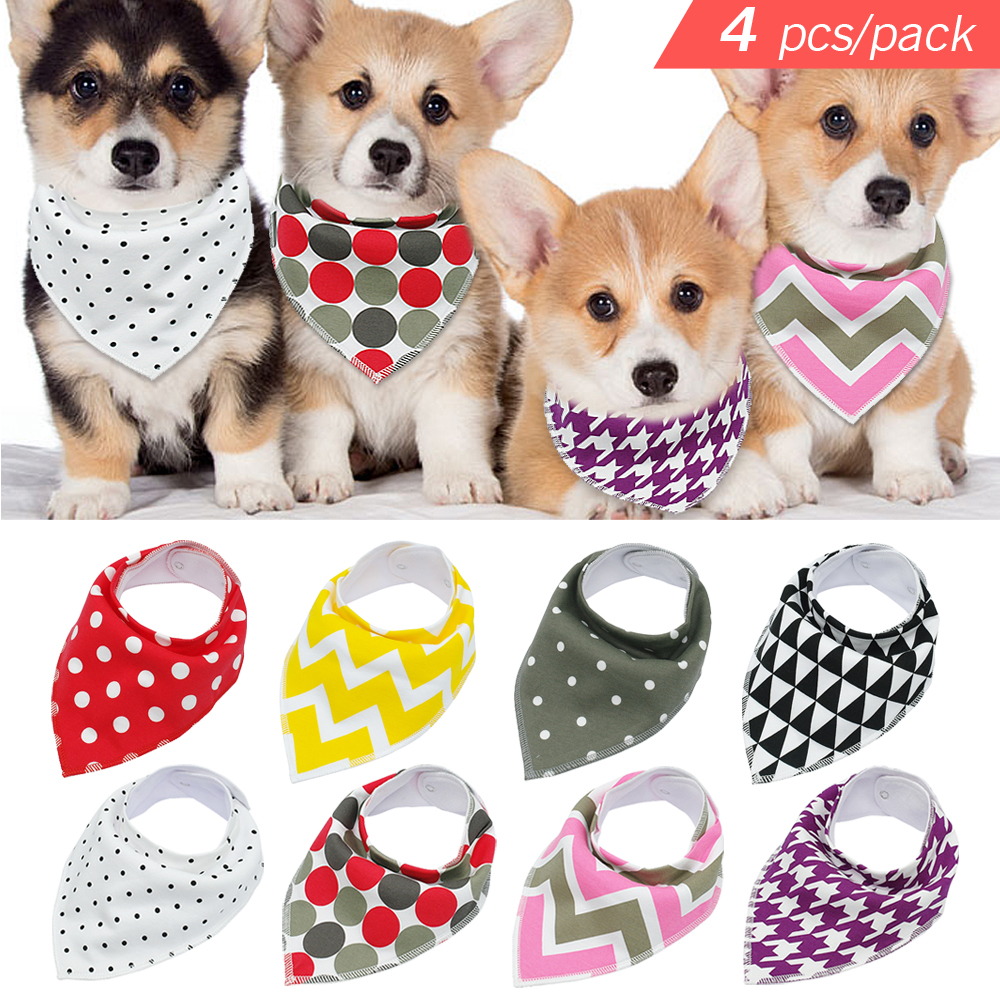 4pcs Adjustable Puppy Cat Bandana Collars Pet Scarf Neckerchief Collar Grooming Accessories For Small Medium Large Dog Chihuahua