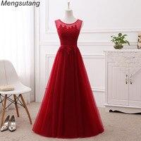 Robe De Soiree Vestido De Festa Wine Red Lace Up With Appliques Long Dress Elegant Bridesmaid