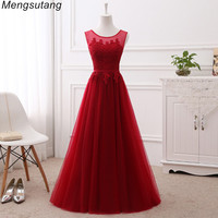 Robe De Soiree Vestido De Festa Wine Red Lace Up With Appliques Long Dress Elegant Bridesmaid