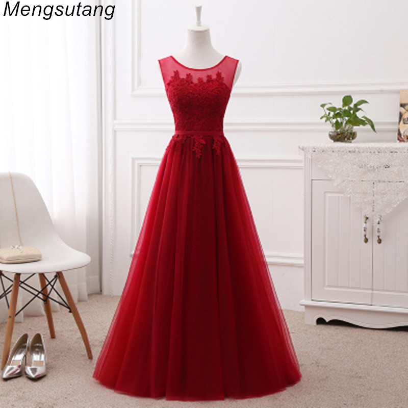 Robe de soiree vestido de festa Wine red lace up with Appliques long   dress   Elegant   bridesmaid     dresses   Banquet Prom Party Gown