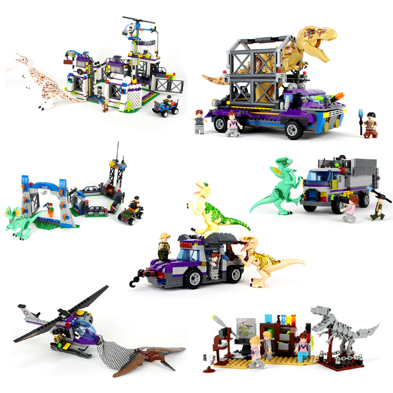 Dinosaurs Jurassic World Dinosaur Figures Jurassic Building Blocks Tyrannosaurus Assemble Classic Compatible with Legoe Kids Toy