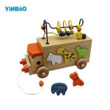 Деревянный игрушечный автобус для детей, обучающая игра для малышей, строительные блоки Обучающие игрушки, подарки для детей