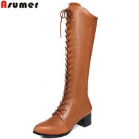 ASUMER 2017 Autumn Winter Hot Sale New Arrive Women Boots Fashion Lace Up Zipper Genuine Leather