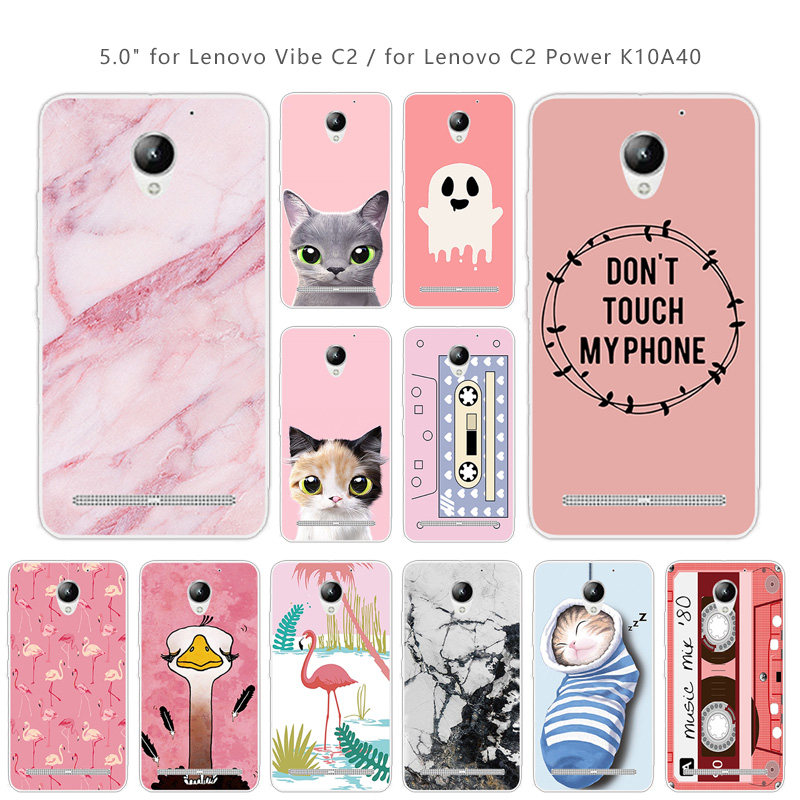 TPU Case Coque for Lenovo Vibe C2 K10A40 Pink Back Cover Clear Soft Silicone Fundas 5.0 inch for Lenovo C2 Power Case Coque