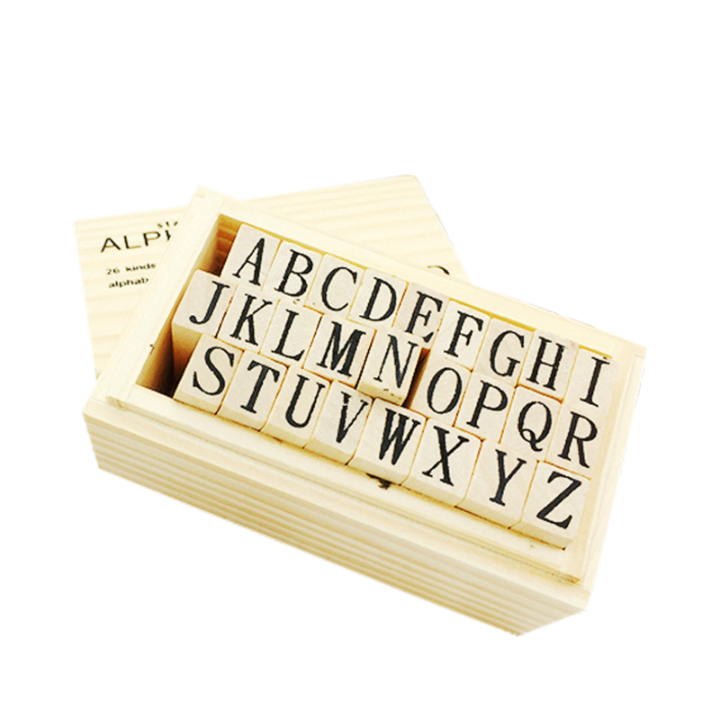 26Pcs/set New English Wooden Stamp Alphabet Digital Letters Seal Set Standardized Stamps DIY English Letter Stamp