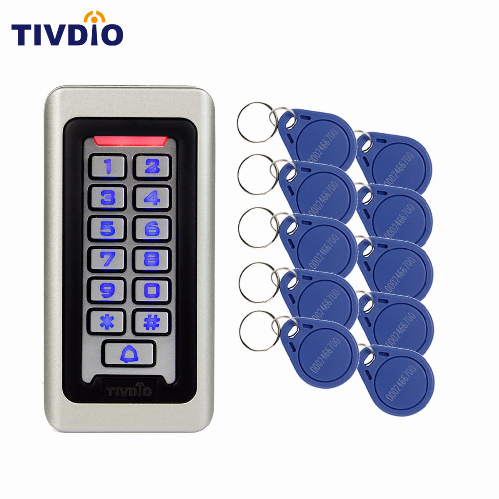 Waterproof Metal Case Keypad For RFID Proximity Card Standalone Access Control+ 10pcs RFID Key 125KHz ID Token Tag Key Keyfob rfid proximity 125khz em card reader led keypad standalone 2000 users door access control waterproof metal case