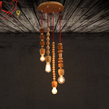 New modern solid wood pendant lamp,nordic creative 4 heads hand carved wood beaded suspension chandelier for living/dining room