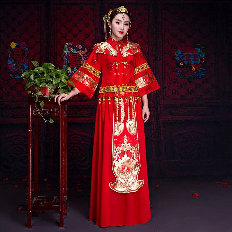 Chinese Red Women Cheongsam Bride Wedding Dress Embroidery Flower Qipao Satin Marriage Toast Clothing Coat+Skirt 2CS Set