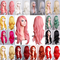 Fashion Costume Women Long Curly Wavy Layer Hair Cosplay Anime Full Wigs Pink Purple Red