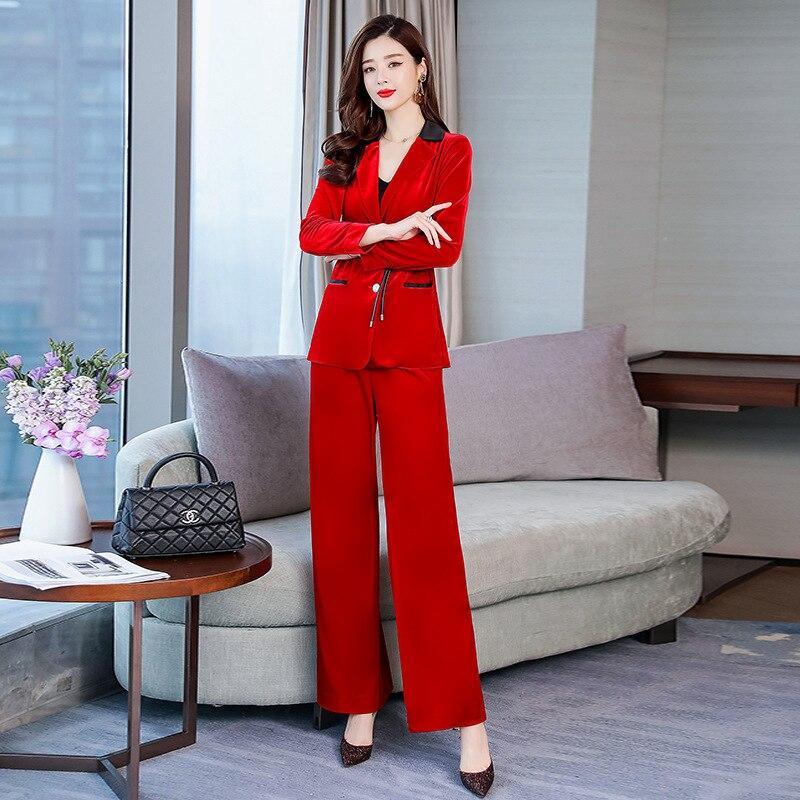 De Femmes D'affaires Kelly Pantalon Or Nouvelle red Velours Deux veste Black Costume Sac Couleur Solide pièce AAwdqrxCT