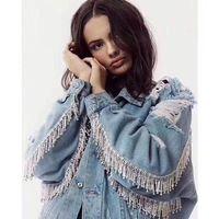Basic Jackets Denim Jacket Fashion Jeans Coat Denim Jacket Women Loose Plus Clothing Female 2018 Metal Rhinestone Tassel Hole