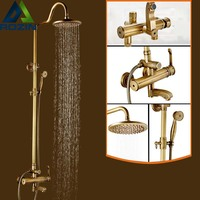 Antique Bathroom Bath Shower Set Brass Wall Mounted Shower Faucet 8 Shower Head Single Handle Shower