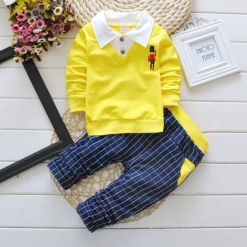 Toddler Baby Boy Formal Clothing Wear Fashion Set 2016 Newest Yellow Boys Clothes Suit 2PCS Children's Infant Clothings baby boys clothes set 2pcs kids boy clothing set newborn infant gentleman overall romper tank suit toddler baby boys costume