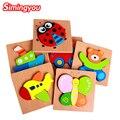 Simingyou 1 pcs hot montessori brinquedos de madeira crianças brinquedo educativo crianças dimensional dos desenhos animados blocos de madeira brinquedos wzyl01