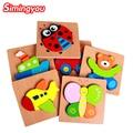 Simingyou 1 unids Montessori rompecabezas de dibujos animados juguetes de madera educativos juguete de los niños Dimensional WZYL01 envío de la gota