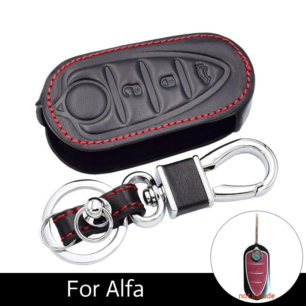 ATOBABI Echtem Leder Flip Schlüsseletui Fob Abdeckung Für ALFA ROMEO MITO/GIULIETTA/159/GTA 3 Tasten Klappschlüssel mit schlüssel Ring