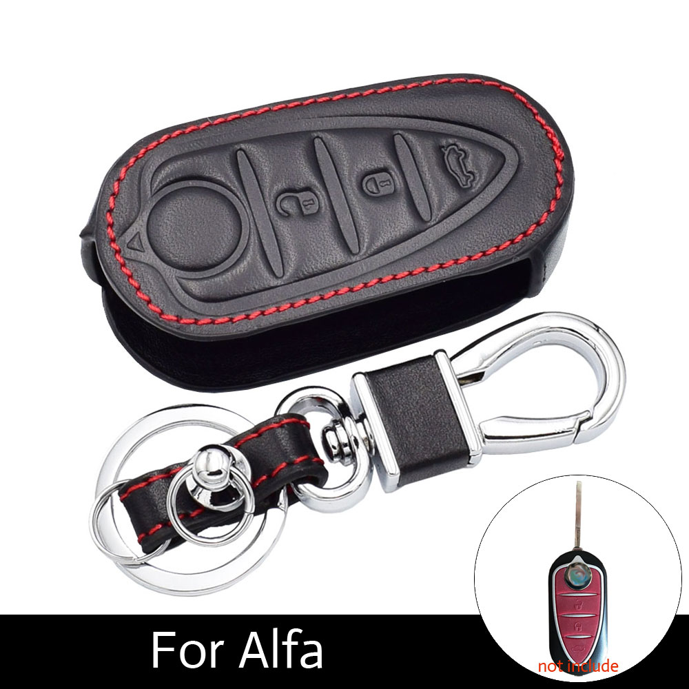 ATOBABI Genuine Leather Flip Key Case Fob Cover For ALFA ROMEO MITO / GIULIETTA / 159 / GTA 3 Buttons Folding Keys with key Ring