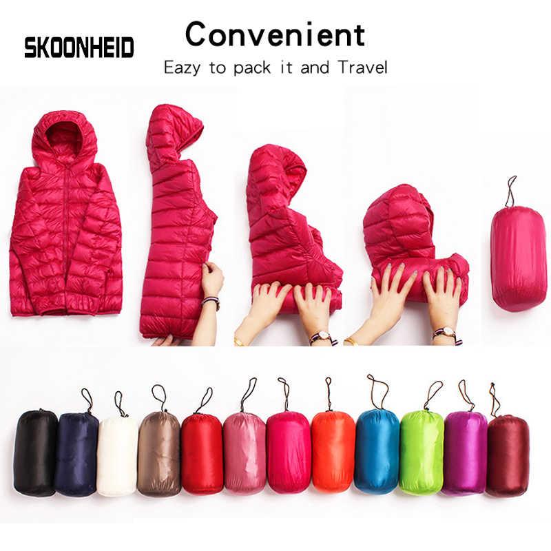 Женский пуховик, пальто 100%, бархатный теплый пуховик, ультра легкие куртки с капюшоном, длинный рукав, тонкая парка, Женская Однотонная легкая одежда