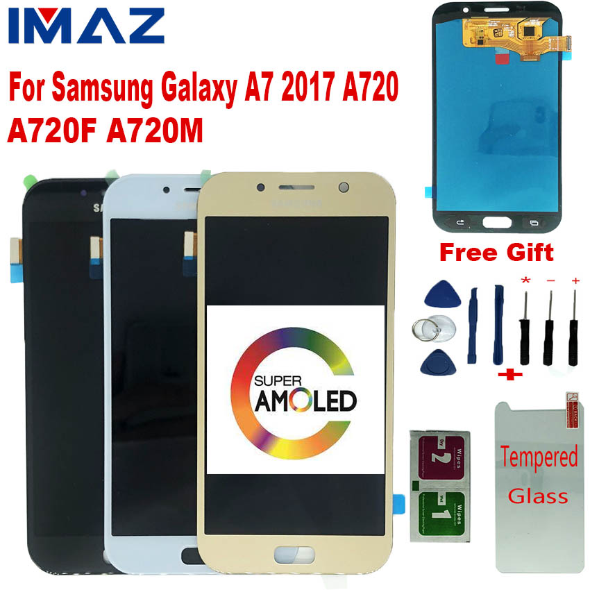 IMAZ 100% SUPER AMOLED LCD For Samsung Galaxy A720 A7 2017 A720F LCD Display Touch Screen Digitizer Assembly For A720M LCD