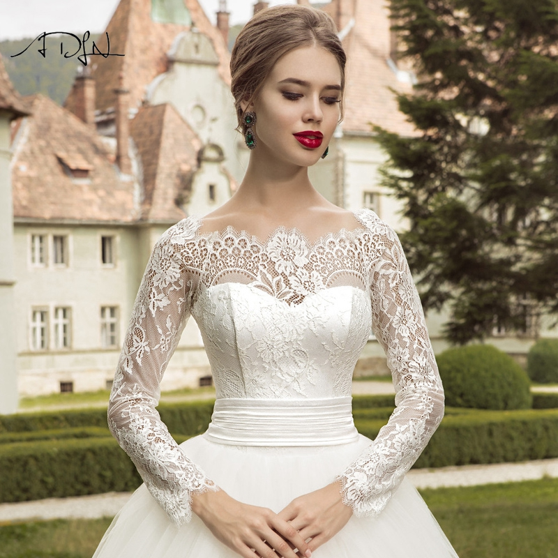 ADLN 2019 Long Sleeves Wedding Dresses Elegant Ball Gown Plus Size White/Ivory Lace Bridal Gown Customizd Vestido de Novia