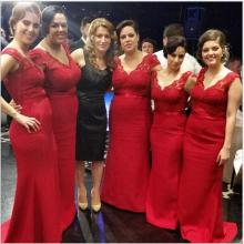 Hot Selling 2016 New Arrival Lace Red Bridesmaid Dresses V Neck Lace Wedding Party Dresses Prom Gowns Vestido De Festa C45