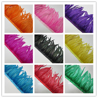 Wholesale 10 Meter 30 35CM Chicken Cock Feathers Trim Cloth Sideband Rooster Tail Feather Trims Clothing Wedding DIY Decoration