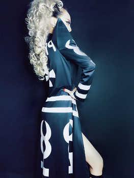New Sexy Nightclub Clothes Female Girl Black Long Clock Jakcet Bodysuit Dj Singer Costumes Women Hip Hop Jazz Dance Costume