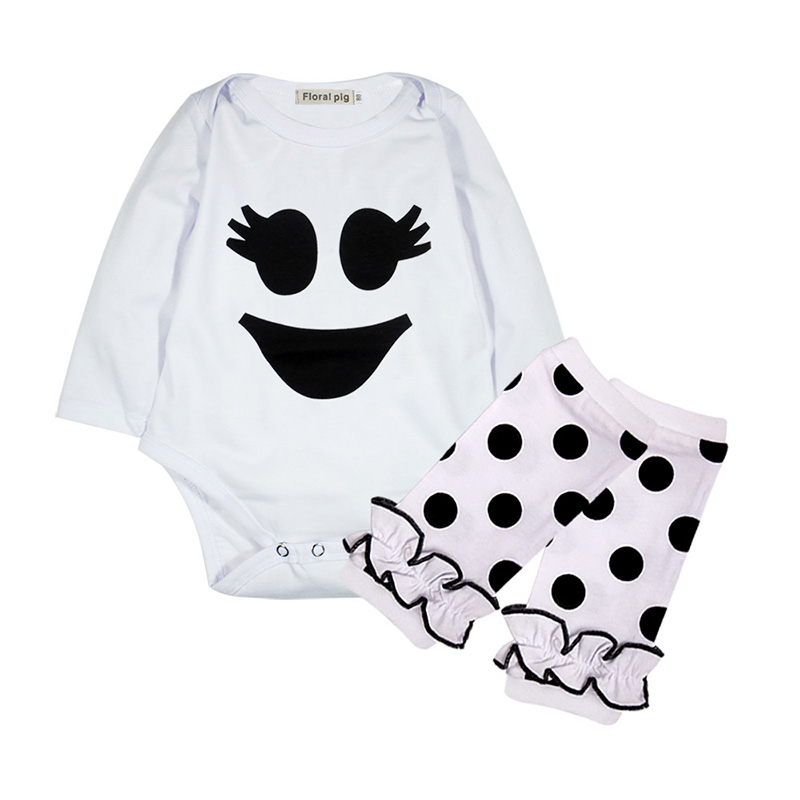 2018 Baby Girl Clothes Tiny Cottons Autumn Long Sleeve Newborn Bodysuit Funny Smiling Face Print Infant Sock 2PCS Clothing Set