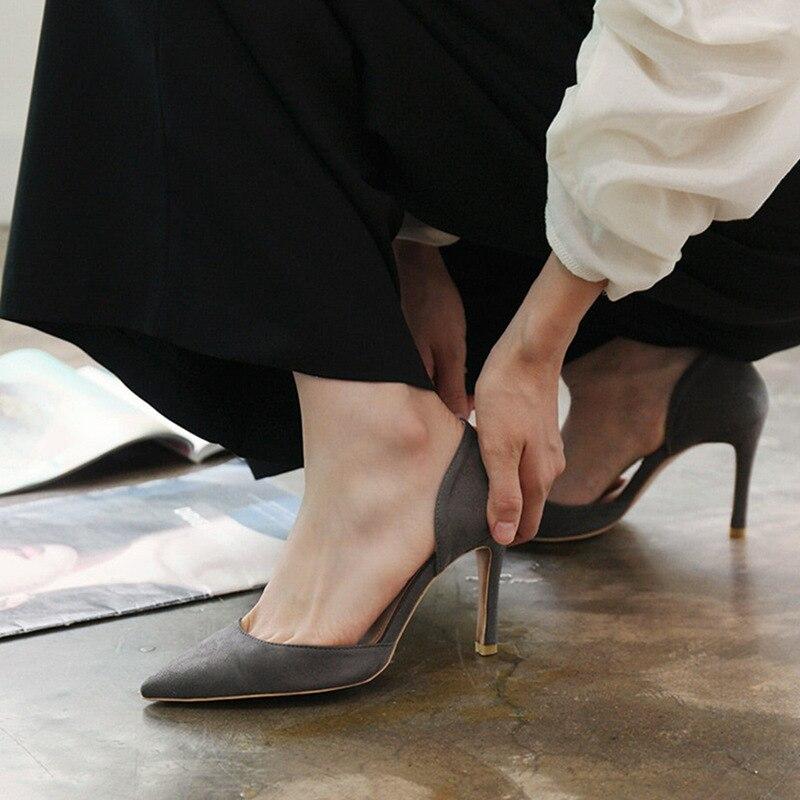 Coréennes 2018 Talons Femmes chaussures Haute Chaussures Heel 8 À Avec 6 Heigh Sexy Automne Discothèque Daim Hauts Nouvelle Côté Creux Cm heel Cm Height Vide Pointes 10 apqwXar