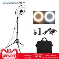 capsaver 14 LED Ring Light Annular Lamp Bi color 3200K 5500K CRI90 Ring Lamps for Video YouTube Photo Ringlight Makeup Light