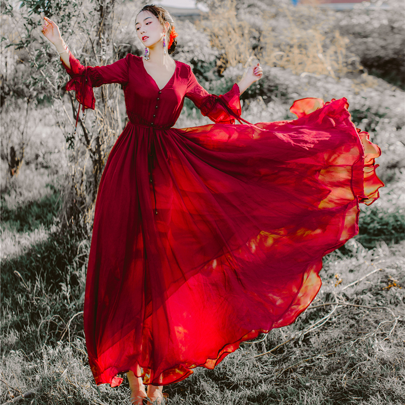 HANZANGL New Art Retro Chiffon Holiday Long Dress Women s V Neck Flare Sleeve Large Swing