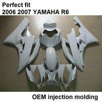 Aftermarket частей тела обтекатели для Yamaha YZFR6 YZF R6 06 07 классический белый мотоцикл обтекатель комплект 2006 2007 BN31
