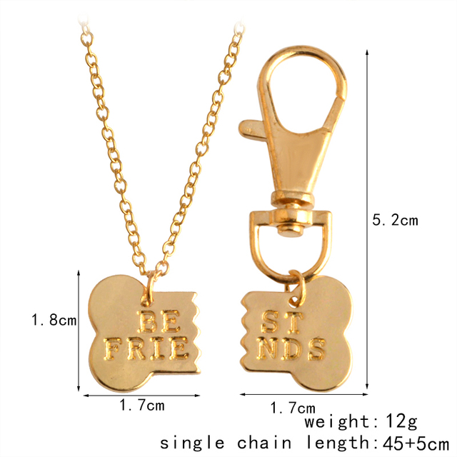 QIHE JEWELRY 2pcs/set Gold Silver Color Dog Bone Best Friends Charm Necklace & Keychain Handstamped BFF Bones Friendship Jewelry 5