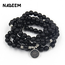 New 108 Mala Black Onyx Stone With Lotus OM Buddha Charm Yoga Bracelet Necklace Women Men Natural Stone Yogi Bracelet Jewelry