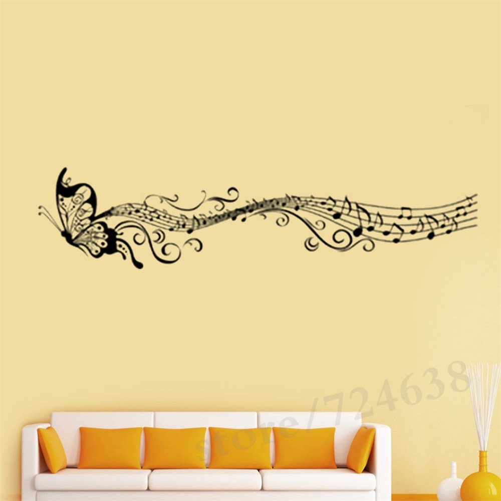 Butterfly Music Note Newest Wall Sticker Decal Simple Art Wallpaper ...