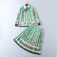 Runway Style 2017 Autumn Turn Down Collar Striped Print Top And Pleats Skirts High End Women