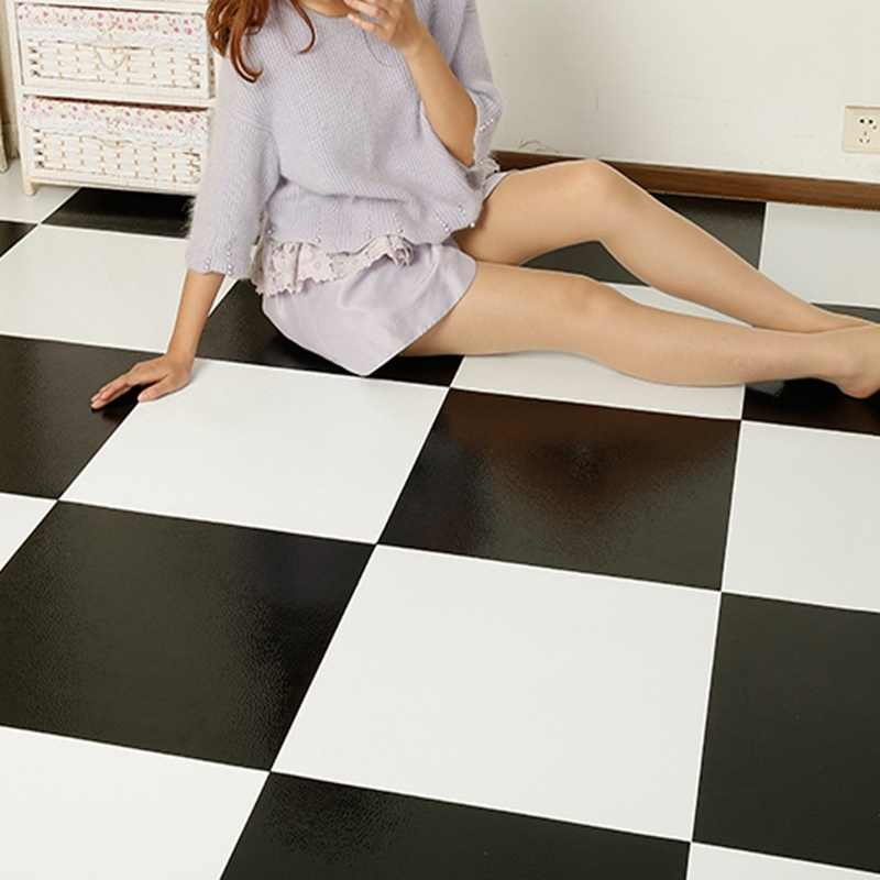 Home Furnishings Tiles Stickers 12 Inch Vinyl Tile Black White Wall Kictchen Floor Stickers2049