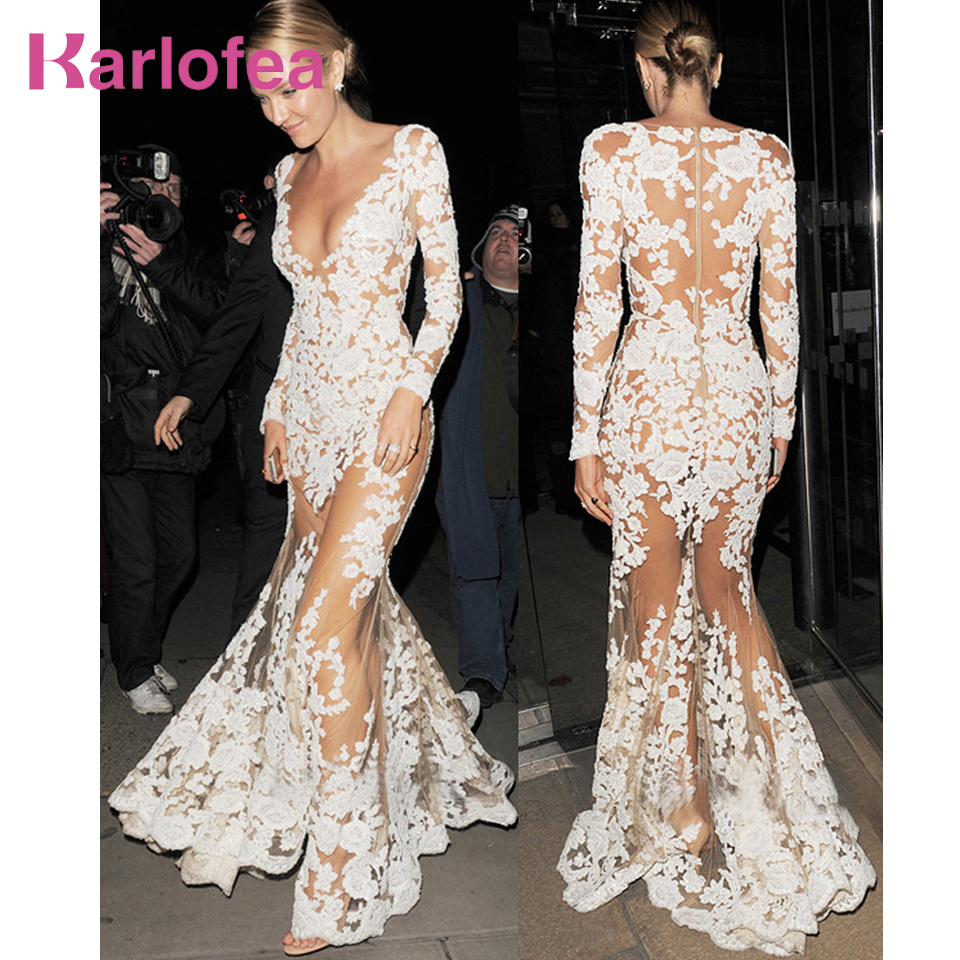 Karlofea Women Sexy Clubwear Dress White Sheer Mesh Lace Long Sleeve Maxi Dress Deep V Luxury