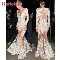 Karlofea Women Sexy Clubwear Dress White Sheer Mesh Lace Long Sleeve Maxi Dress Deep V Luxury Birthday Party Maxi Dress Gown