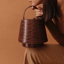 Fashion Lady Crocodile Pattern Leather Bucket Bag Messenger Shoulder Casual Luxury Drawstring Banquet
