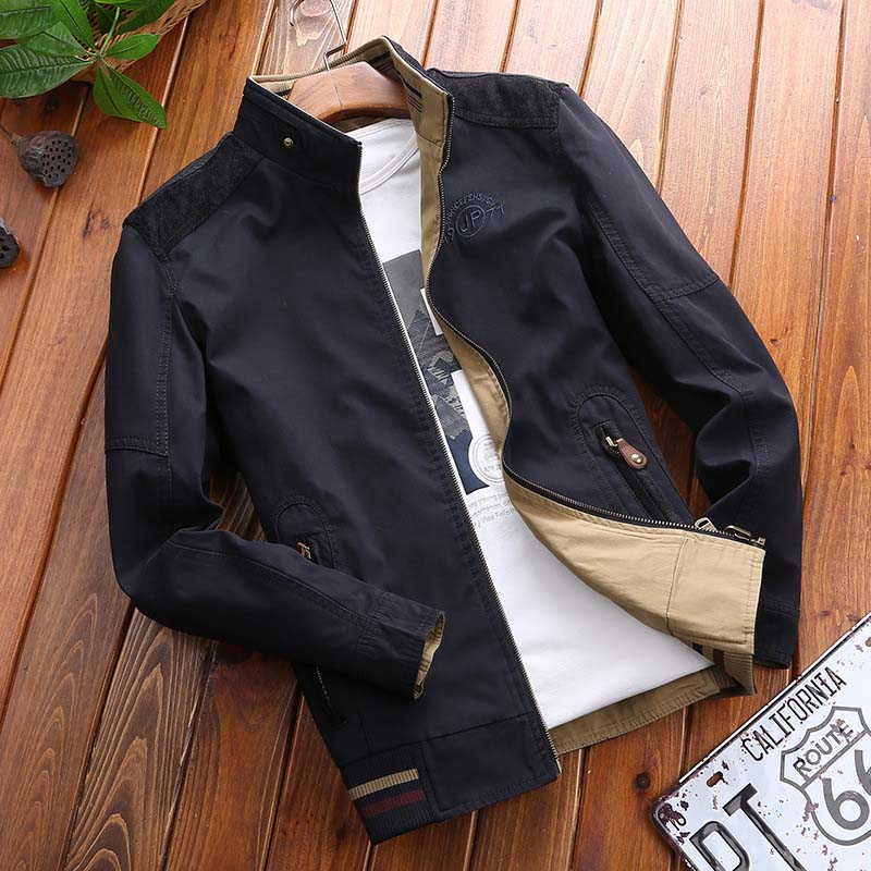 New Brand Autumn Winter Men Cotton Jackets 2 Side Wears Stand Collar Bomber Jacket Casual Loose Military Tactical Jacket