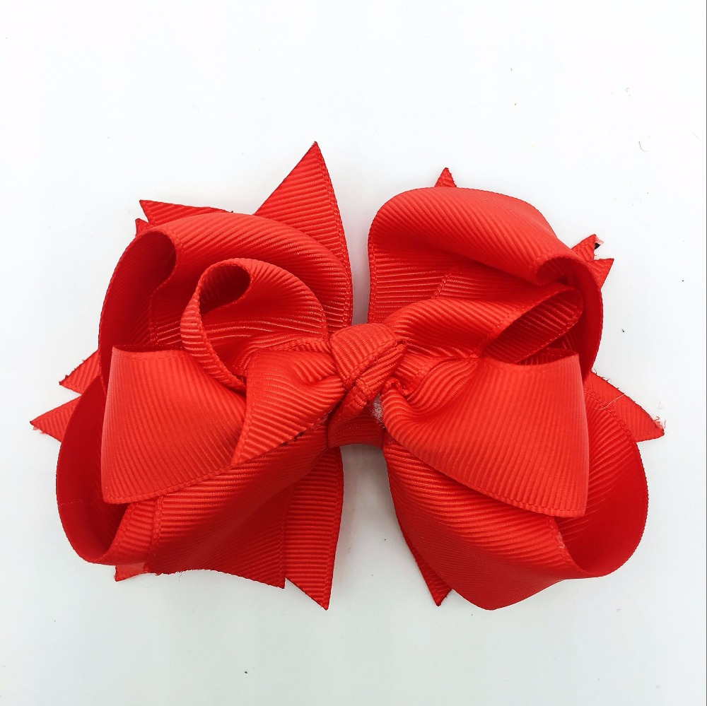 1PCS 5 Inches 3Layers Red Solid Girls Hair Bows Hairpins Polyester Ribbon Bows   Headwear   Children Hair Accessories