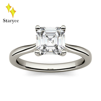 Test Positive Charles Colvard Moissanite Solitaire Asscher Cut Ring 1.3ct 6.5mm VS DEF 14K White Gold Diamond Jewelry For Women