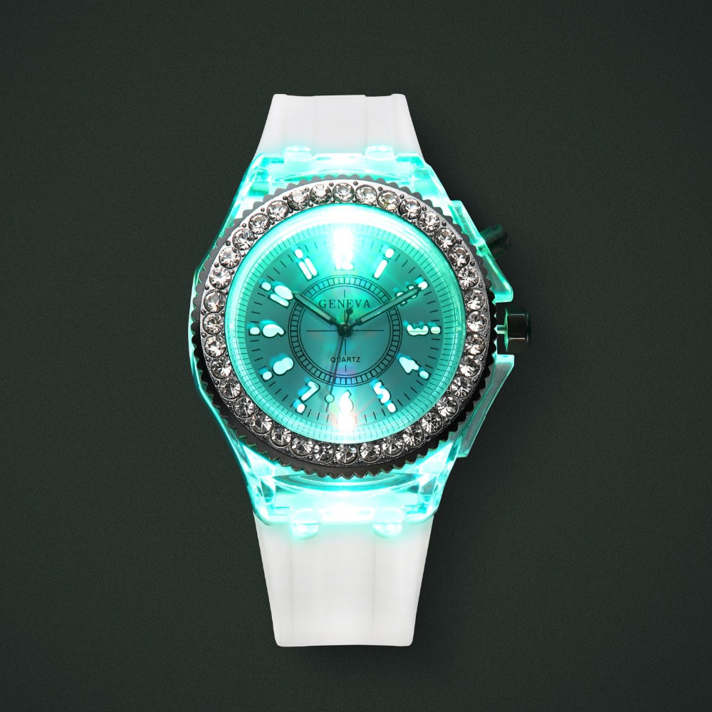Personality Trends Women Watches Led Flash Luminous Watch Jelly Silicone 7 color light Watch Women Men WristWatch montre femme 16