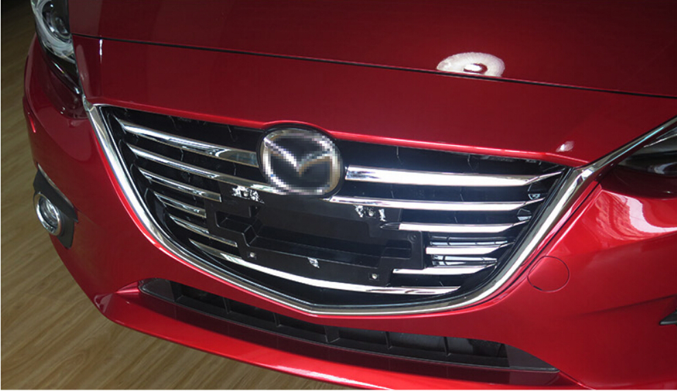 Front grille trims for Mazda 3 Axela 2014 2015,ABS chrome,11s