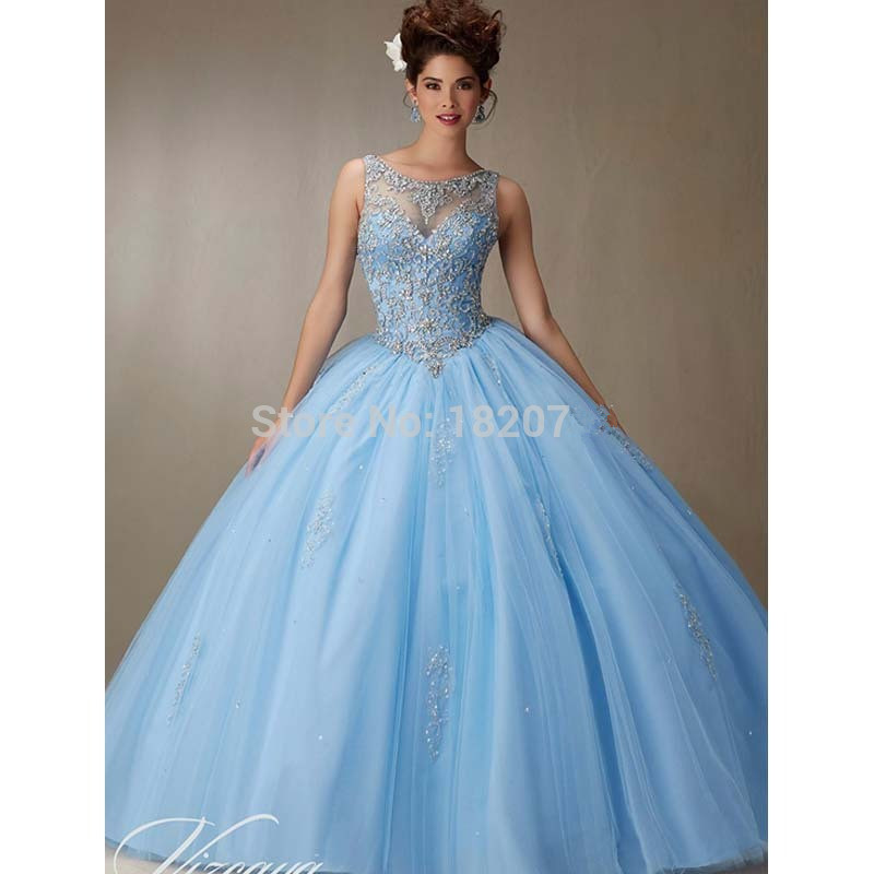 Sky Blue Puffy Cheap Quinceanera Dresses 2019 Ball Gown Tulle Beaded Crystals Sweet 16 Dresses