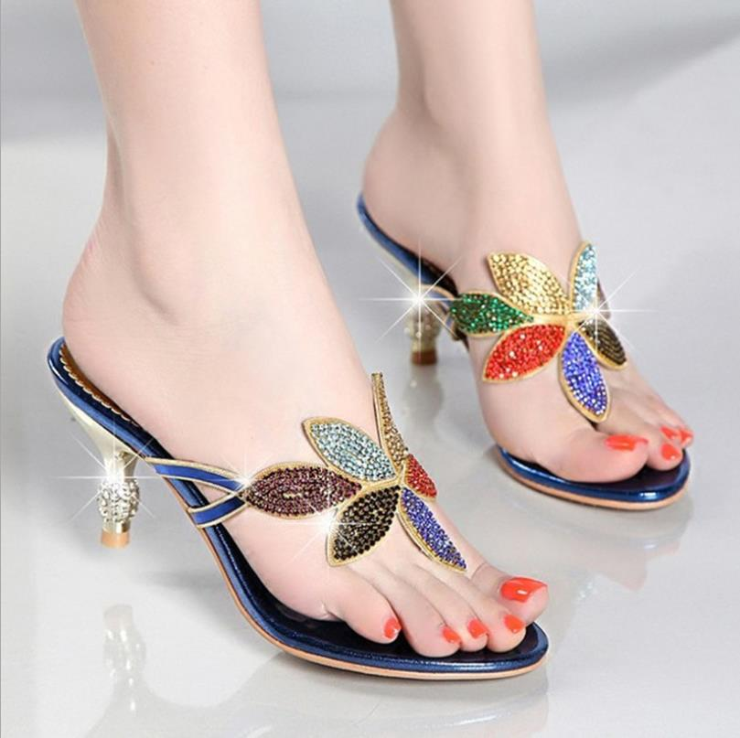 2018 new rhinestone sandals and slippers female summer Bohemian high-heeled fine with clip fashion non-slip character flip-flops