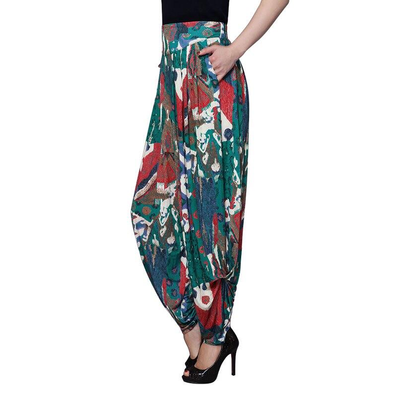 High quality summer large size pants loose loose wide leg pants harem pants female elastic waist national printing trousers