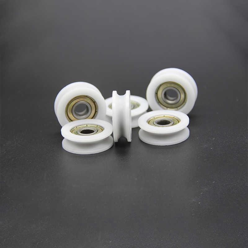 10 pz U di plastica di Nylon Incorporato 608 Cuscinetti A Sfere 8*30*10mm Puleggia di Guida
