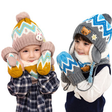 Baby Winter Hat Children Hat Scarf And Gloves 3pcs/lot Baby Girl Hat Winter Double Layer Knit Warm Caps Kids Boy Snowflake Hats